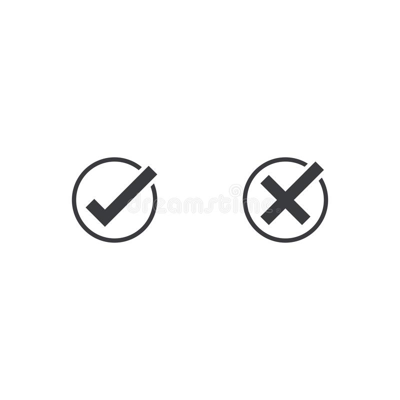 Check mark icon. Approve and cancel symbol for design project. Flat button yes and no. Good and bad. Appove and cancel button.  royalty free illustration