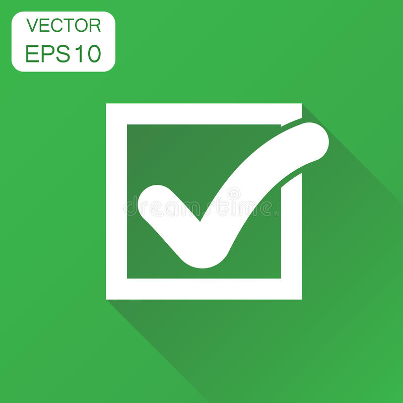Check mark icon. Business concept tick, yes, ok, accept pictogram. Vector illustration on green background with long shadow. stock illustration
