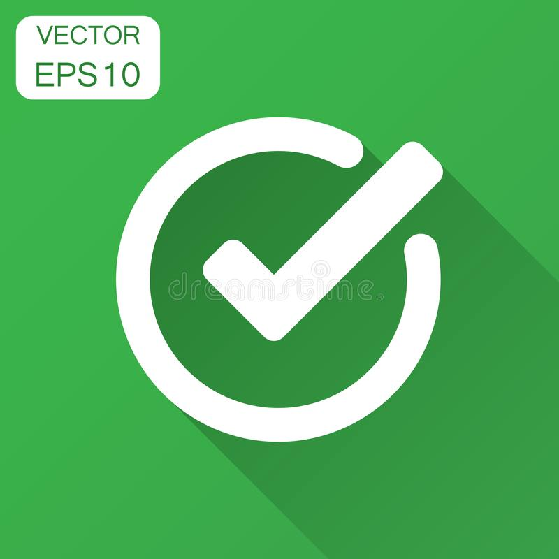 Check mark icon in flat style. Ok, accept vector illustration wi vector illustration