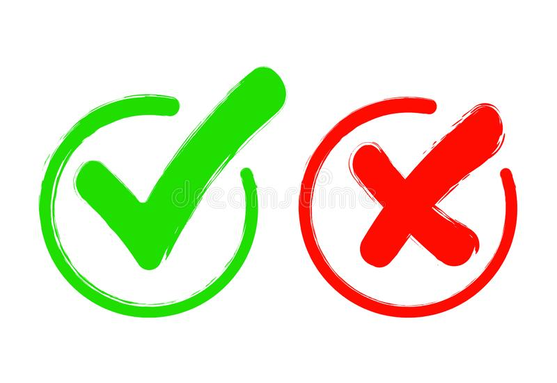 Check mark icon set. Gree tick and red cross flat simbol. Check ok, YES or no, X marks for vote, decision, web.Correct and stock illustration