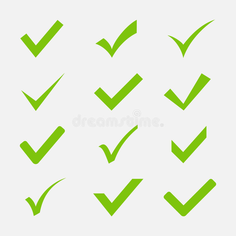 Check mark icon vector set. On white background. Green tick symbols in a flat style. Icon Ok, Yes or Agree to the web sites and applications royalty free illustration