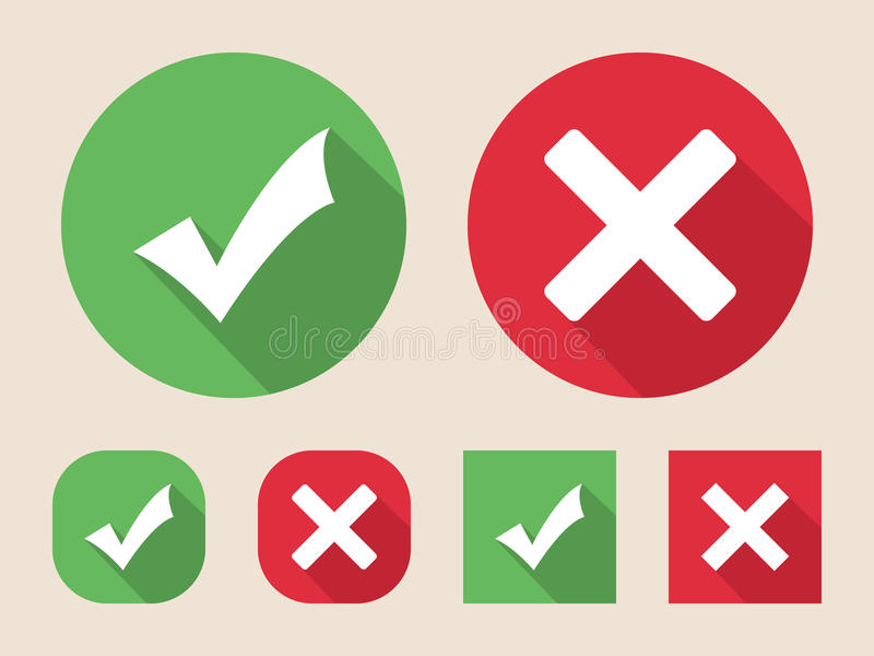 Check mark icons. (flat design with long shadows