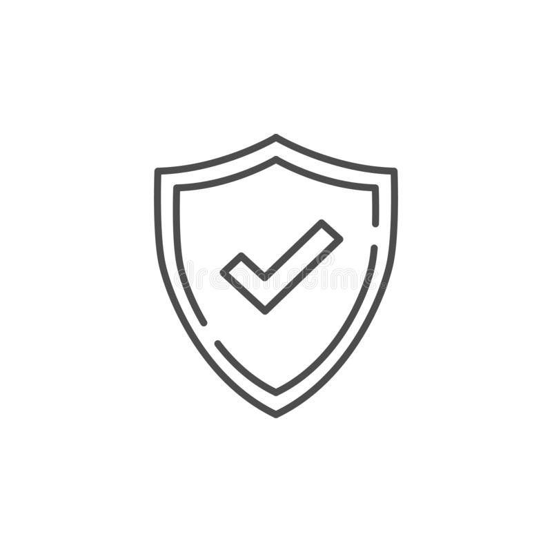 Check mark line vector icon. Accepted or Approve sign. Tick shield symbol. Quality design flat app element. Vector illustration on royalty free illustration