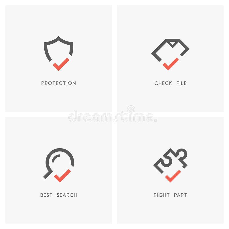 Check mark logo set 03. Check mark logo set. Shield, document or file, magnifying glass and puzzle piece with tick or checkmark symbol - protection and defense stock illustration