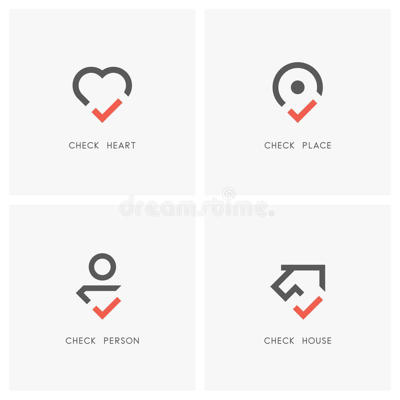 Check mark logo set 01. Check mark logo set. Heart, place pointer, person and house or home with tick or checkmark symbol - love, health, position, realty stock illustration