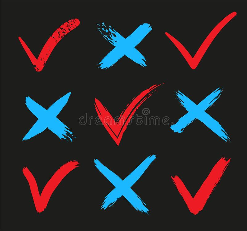 Check mark OK and X icons. YES or NO accept and decline symbol. Vector illustration vector illustration