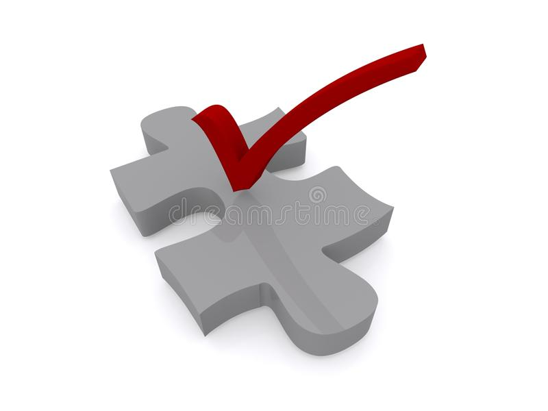 Check mark on puzzle piece vector illustration