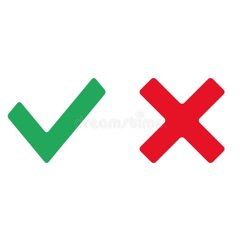 Check mark red and green icon vector eps10. Confirm icon. Check mark icon green and red. royalty free illustration