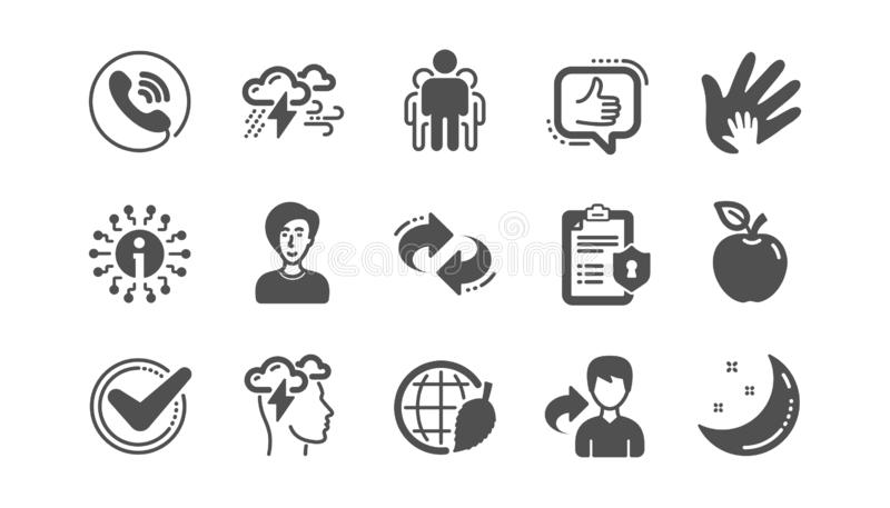 Check mark, Sharing economy and Mindfulness stress icons. Privacy Policy. Classic icon set. Vector. Check mark, Sharing economy and Mindfulness stress icons royalty free illustration