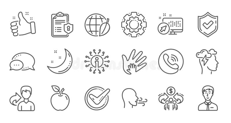 Check mark, Sharing economy and Mindfulness stress line icons. Privacy Policy. Linear icon set. Vector vector illustration