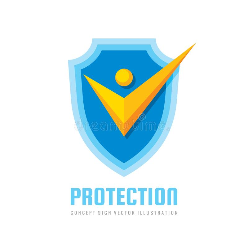 Check mark on shield logo design. Stylized human silhouette sign. Certified badge. vector illustration