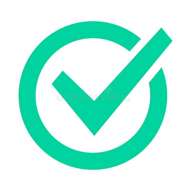 Check mark sign. Checklist green marking logo, check web pictogram, positive checked confirm and accept okey mark. Circle confirmation success sign vector icon royalty free illustration