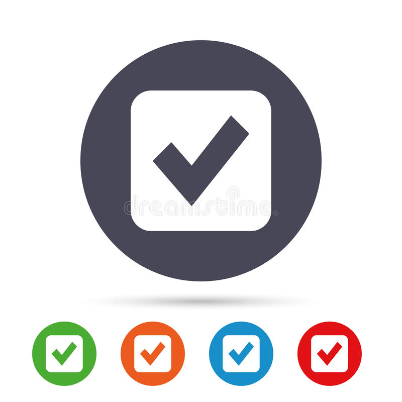 Check mark sign icon. Checkbox button. Round colourful buttons with flat icons. Vector vector illustration