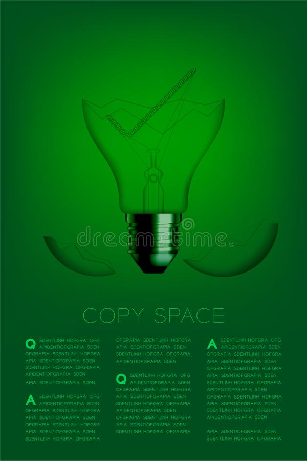 Check mark sign shape broken Incandescent light bulb switch off set Correct idea concept, illustration isolated glow in green. Gradient background, with copy vector illustration