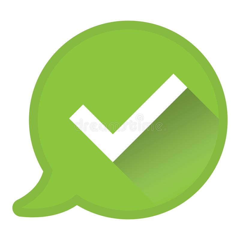Check mark in speech bubble, approval or consent icon or symbol royalty free illustration