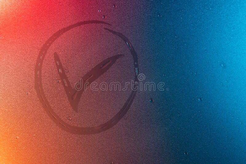 Check mark symbol in neon light background drops trend 2020 color Aqua menthe classic blue Lush lava, Flat lay top view copy space. Check mark symbol in neon stock photos