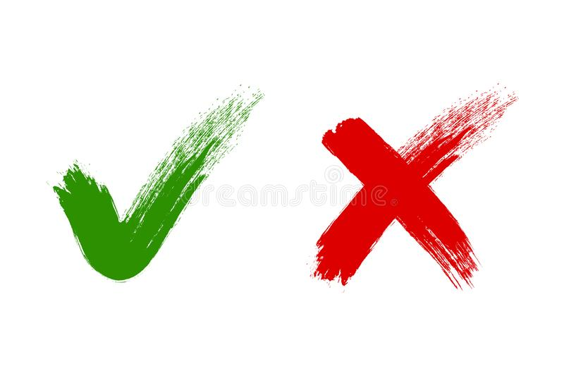 Check mark, tick and cross brush signs, green checkmark OK and red X icons, symbols YES and NO button for vote, decision. Election choice, web - vector royalty free illustration
