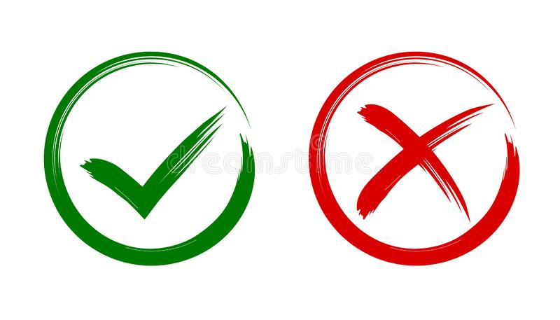 Check mark, tick and cross brush signs, green checkmark OK and red X icons, symbols YES and NO button for vote, decision vector illustration