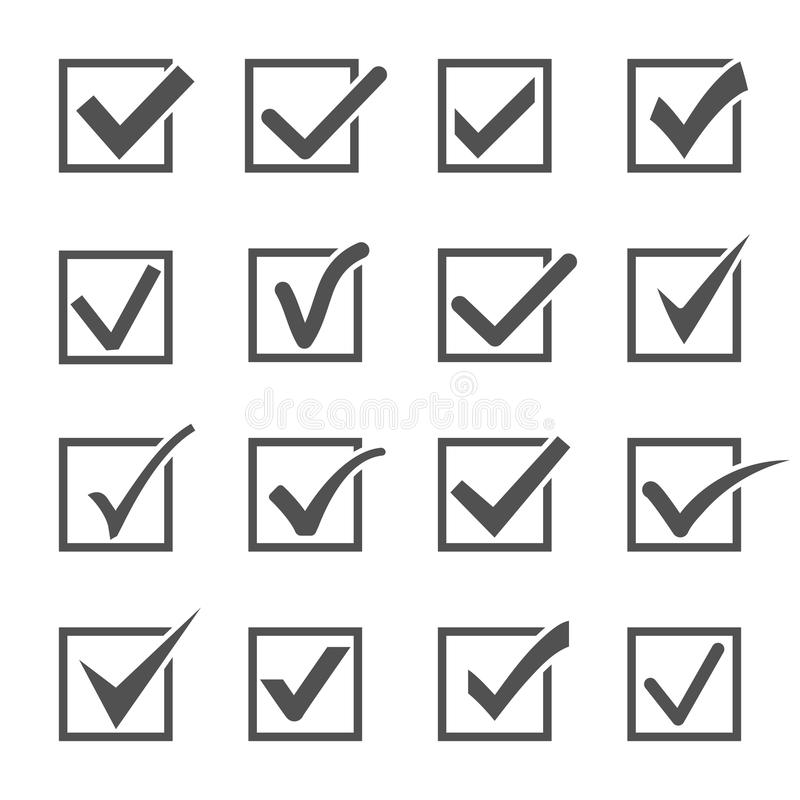 Check mark and ticks icons. Check mark or ticks icons. Different gray confirm symbols set in square frames on a white background. Acceptance of voting results stock illustration