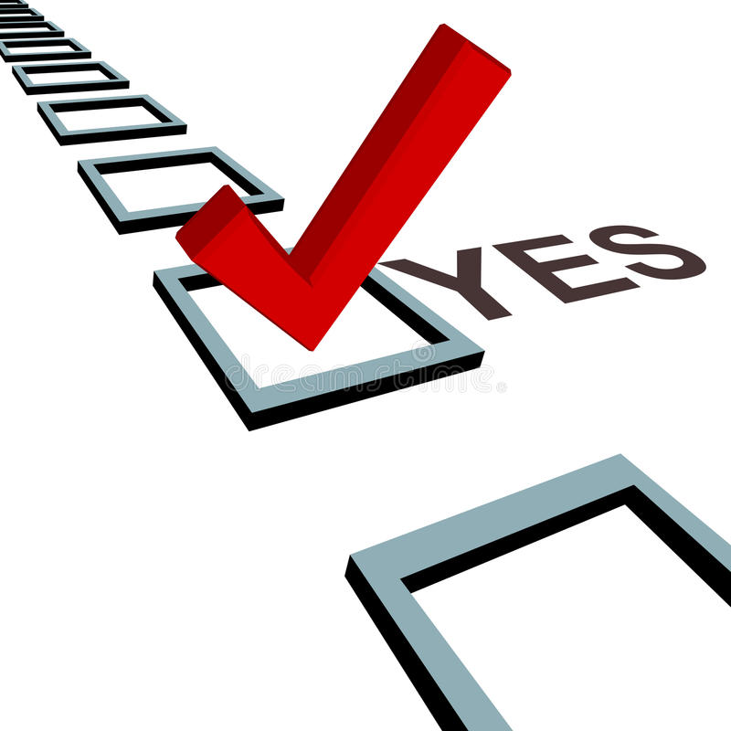 Free Check Mark To Vote Yes 3D Box Poll Election Royalty Free Stock Photos - 10832188