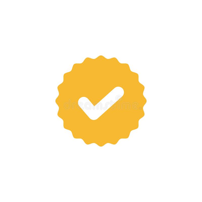 Check mark, white tick in yellow circle sign. Valid seal icon vector illustration. On white background vector illustration