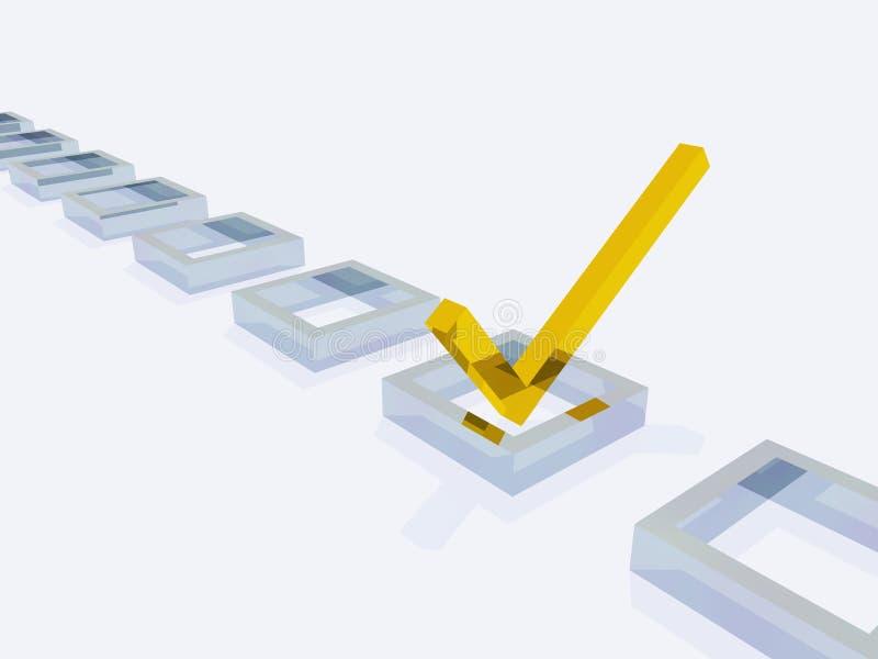Check-Markierung der Abmessung-drei vektor abbildung
