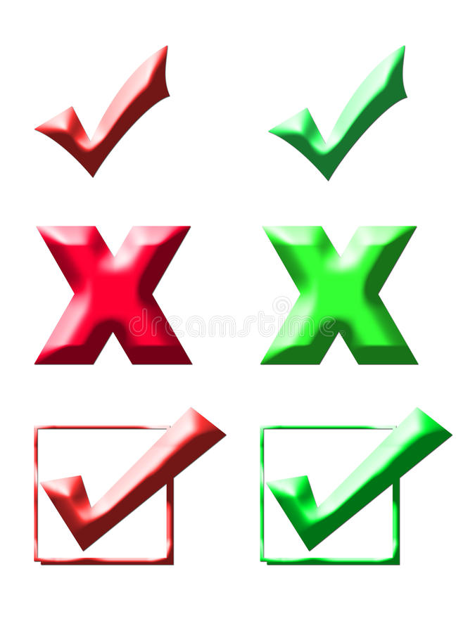 Check Marks And Crosses Stock Images