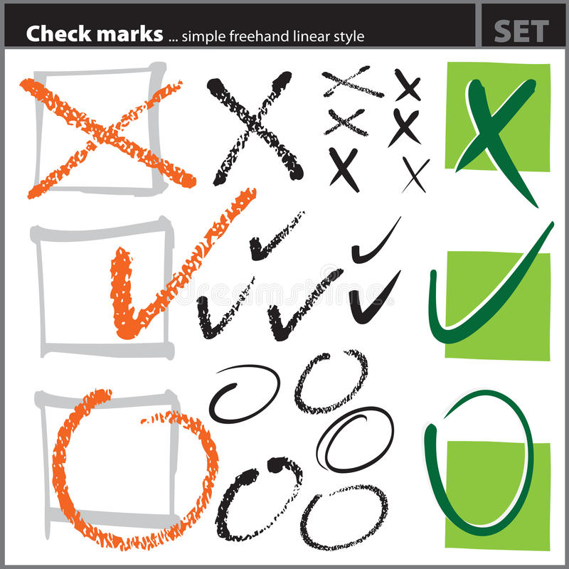 Check Marks Set (freehand Artistic Style, ) Stock Photos