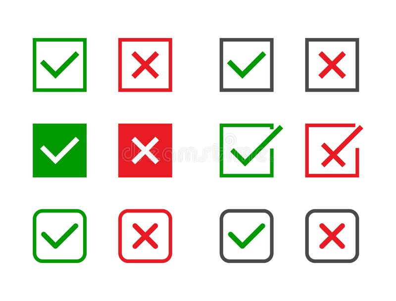 Check marks set. Green tick and red cross in different shapes. YES or NO accept and decline symbol. Vector icons for vector illustration
