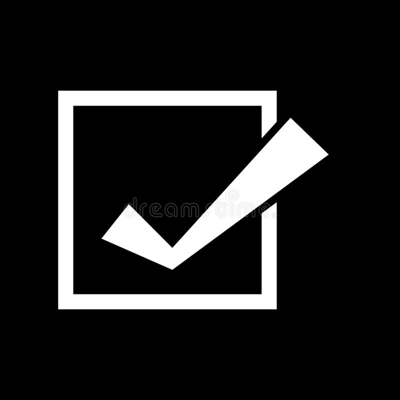 Check marks in squares for web icons and symbols on a black background. And flat vector illustration