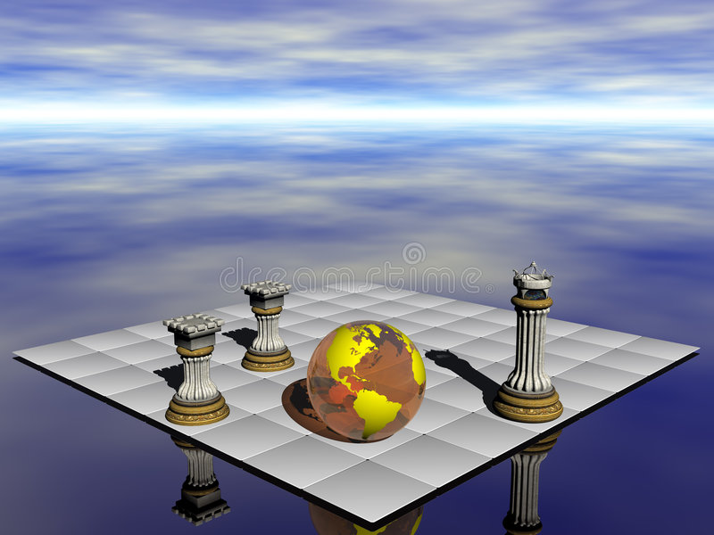 Check mate, earth versus pollution. royalty free illustration