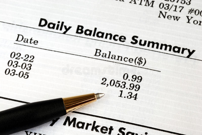 Check the monthly bank account statement. Carefully check the monthly bank account statement royalty free stock photography