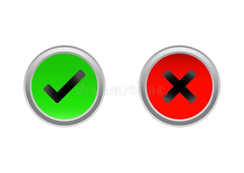 Check / no check mark buttons vector illustration