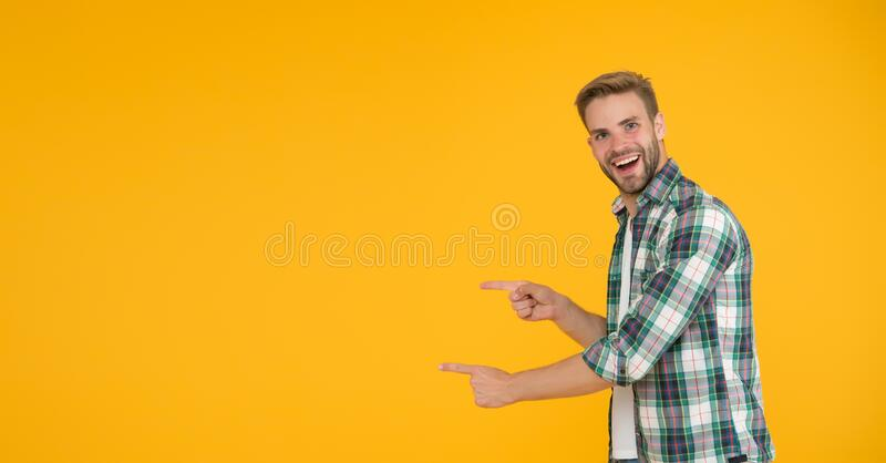 Check it out. Cheerful speaker. Menswear fashionable clothing. Man handsome casual style. Guy with bristle casual outfit royalty free stock photography