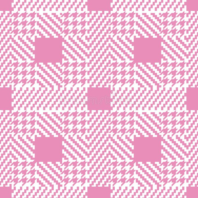 Check Pink Fashion Seamless Pattern. Check fashion tweed white and pink seamless pattern for fashion romantic textile prints, wallpaper, wrapping, fabric royalty free illustration