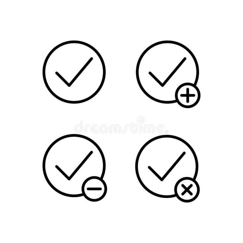 Check, plus, check, minus sign icons. Element of outline button icons. Thin line icon for website design and development, app. Development on white background stock illustration