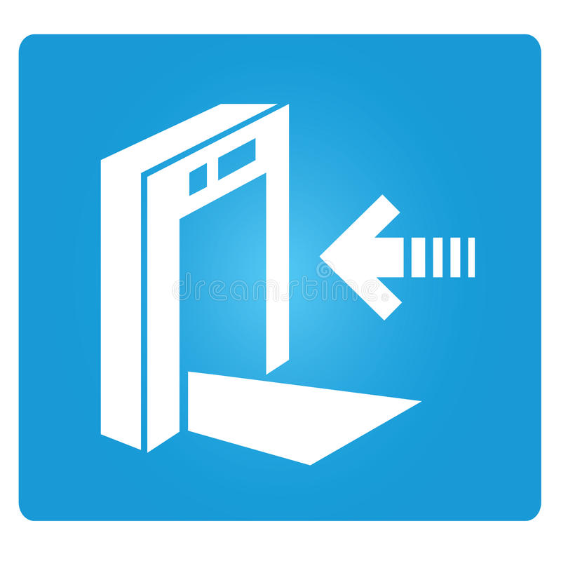 Check point, gate. Symbol in blue button vector illustration