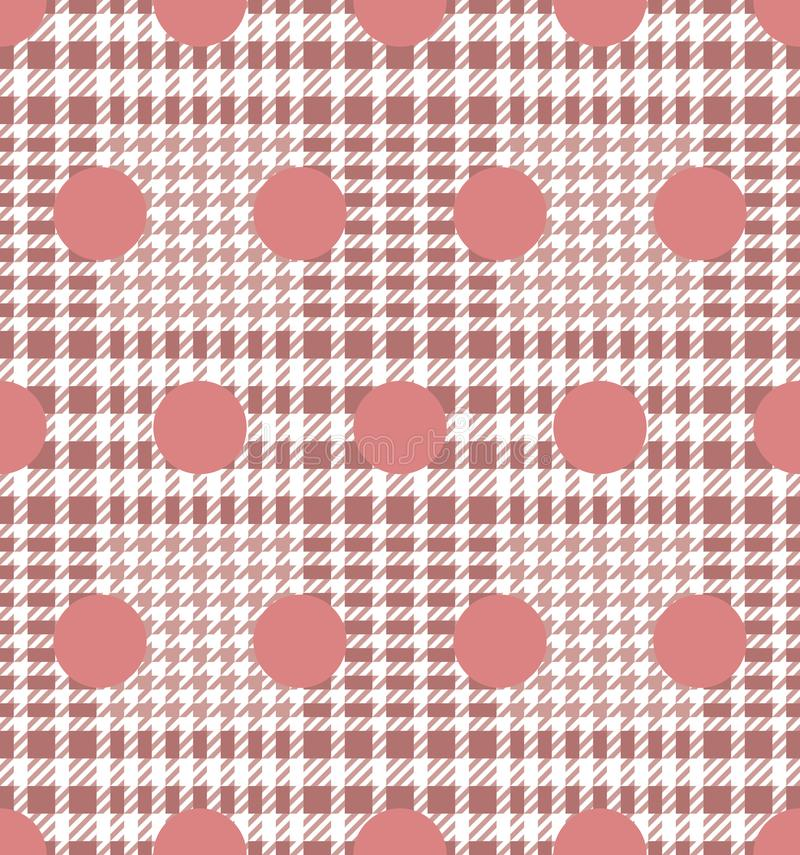 Check and Polka Dot Fashion Seamless Pattern. Check fashion tweed white and pink seamless pattern for fashion textile prints, wallpaper, wrapping, fabric stock illustration