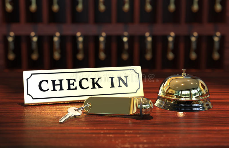 Check in reception. With hotel key and bell 3D rendering royalty free illustration