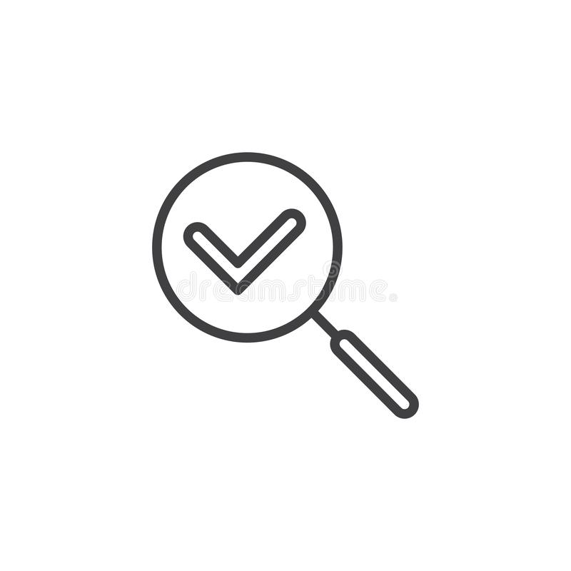 Check search outline icon vector illustration