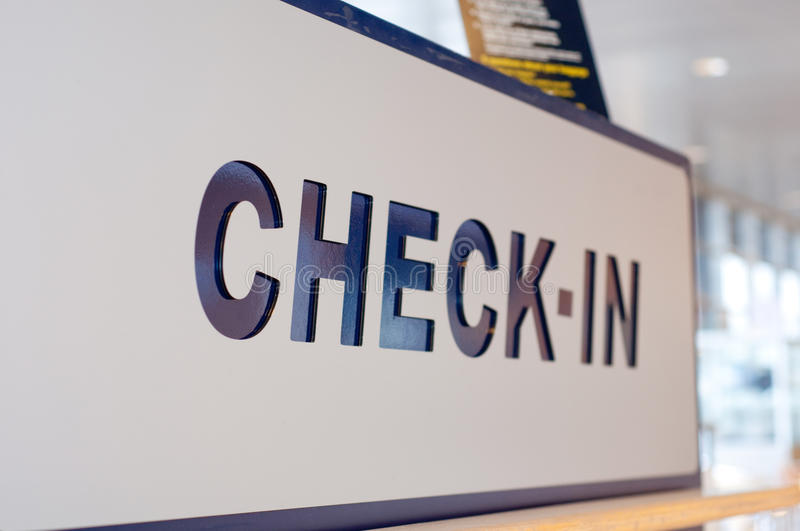 Check-in Sign At The Departures In The Airport, Cl Stock Photo