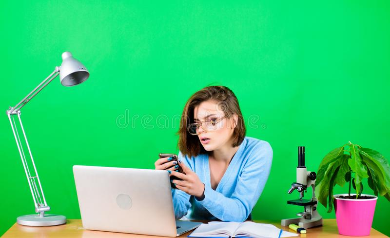 Check social networks. Girl pretty attractive student with laptop. Modern student. Education concept. Student life. High. School education. Online remote stock photos