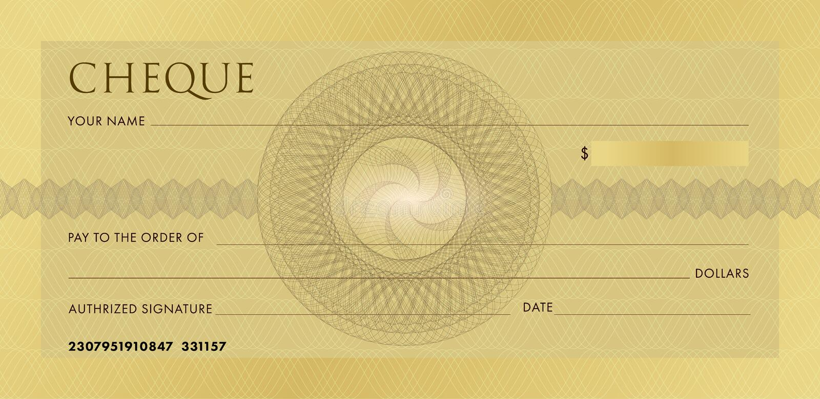 Check template, Chequebook template. Blank gold business bank cheque with guilloche pattern rosette and abstract royalty free illustration