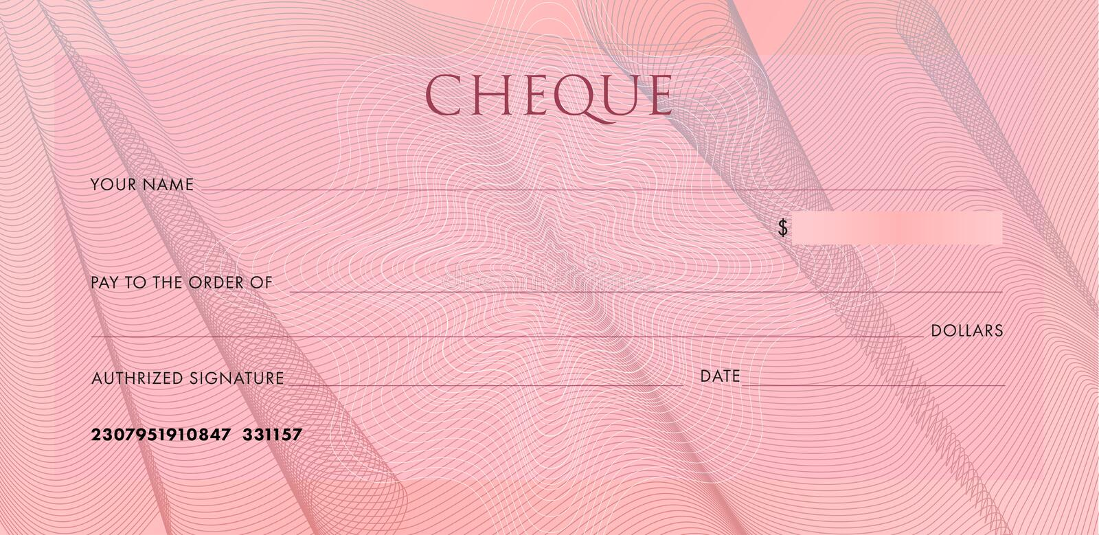 Check template, Chequebook template. Blank pink business bank cheque with guilloche pattern cloth folds and abstract royalty free illustration