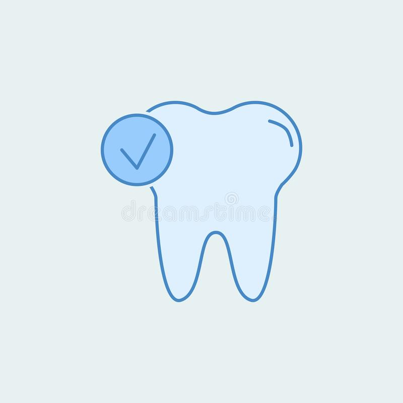 Check tooth 2 colored line icon. Simple colored element illustration. Outline symbol design from dental set. On blue background vector illustration