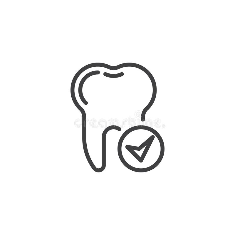 Check tooth line icon stock illustration