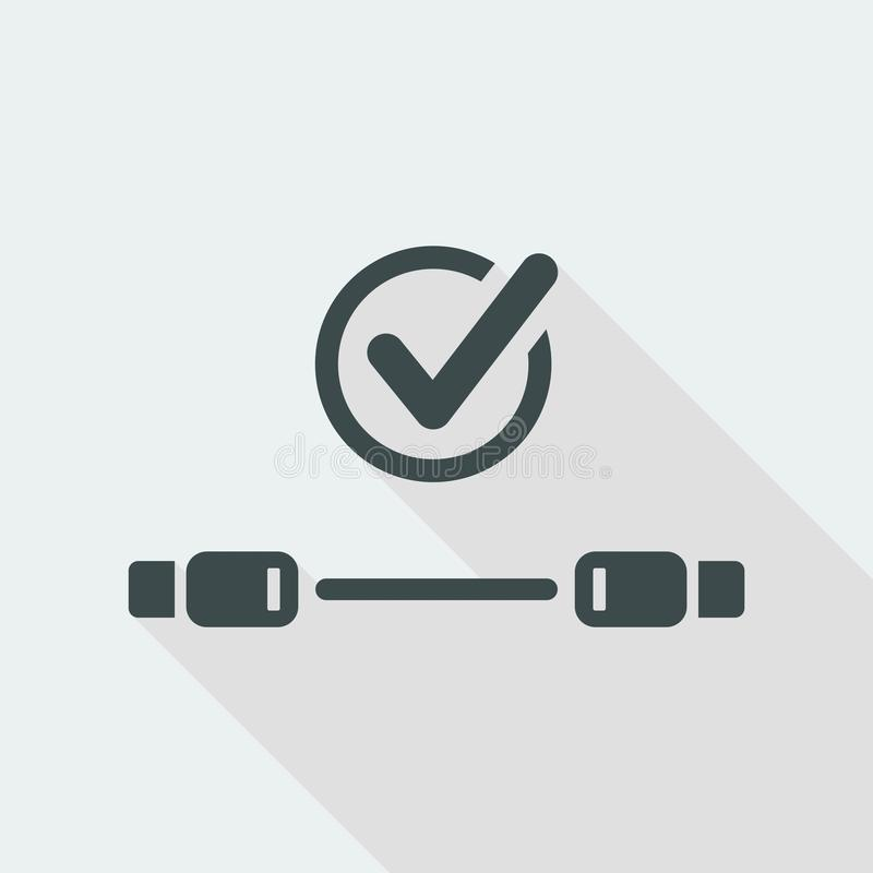 Check usb cable - Vector flat minimal icon. Flat and isolated vector eps illustration icon with minimal design and long shadow royalty free illustration