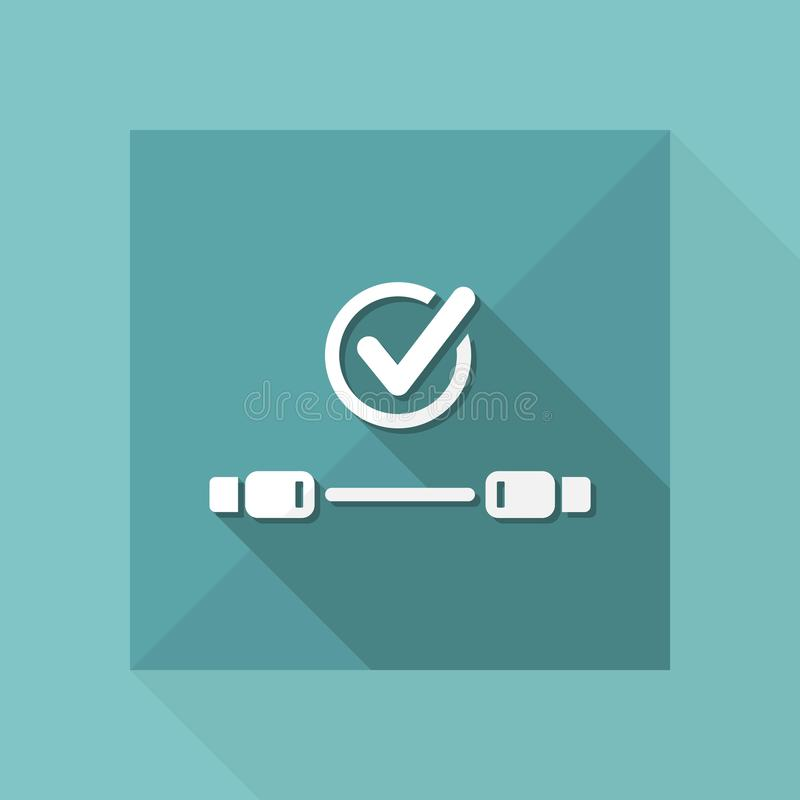 Check usb cable - Vector flat minimal icon. Flat and isolated vector eps illustration icon with minimal design and long shadow vector illustration