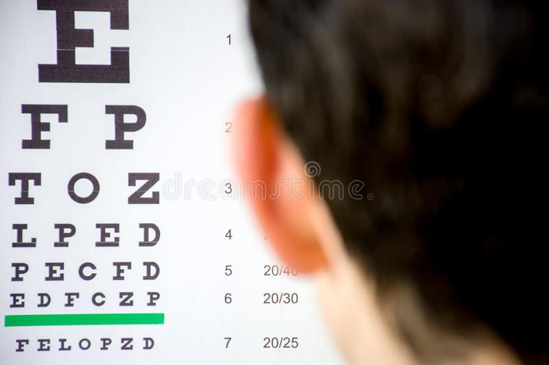 Check visual acuity or ophthalmologist or optometrist visit concept photo. Table for testing visual acuity in background in focus. And blurred defocused stock photo
