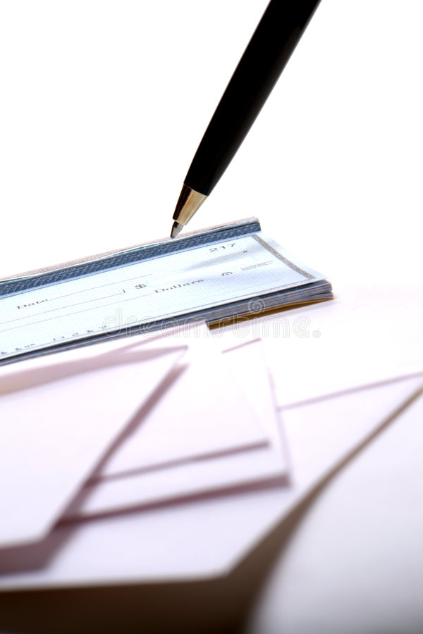 Check Writing with Checkbook and Pen royalty free stock photo